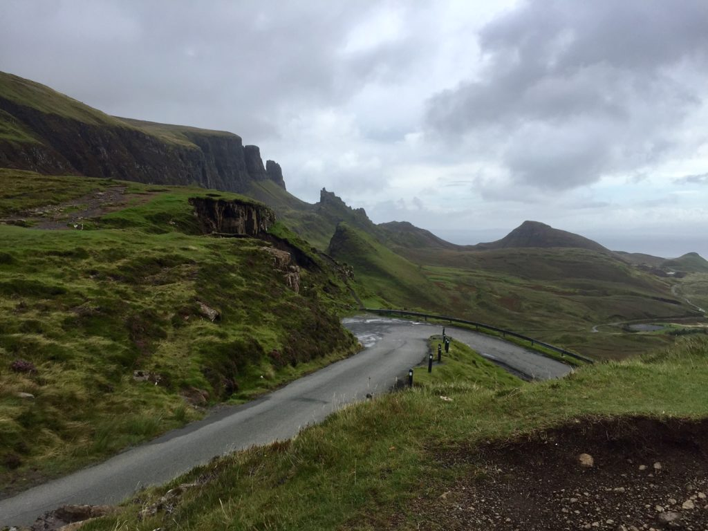 """One of the many curvy narrow two-way roads on Isle of Skye. """"UK vs US: Road Trip Comparison"""" - Two Traveling Texans"""