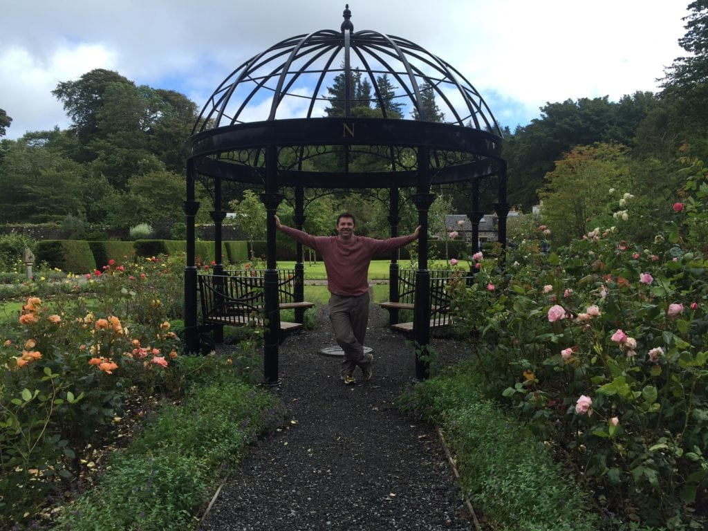 "Russell in the gazebo in the garden.- ""Dunvegan Castle and the Fairy Flag"" - Two Traveling Texans"