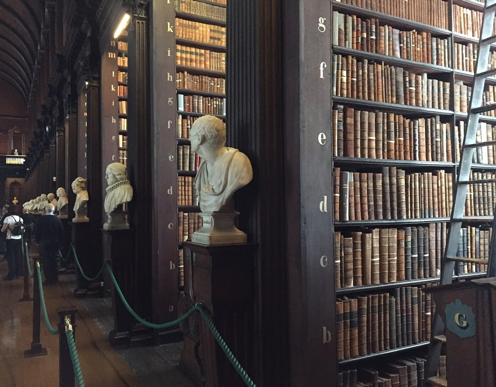 "38 marble busts line both sides of the Long Room - ""The Book of Kells: A Medieval Treasure"" - Two Traveling Texans"