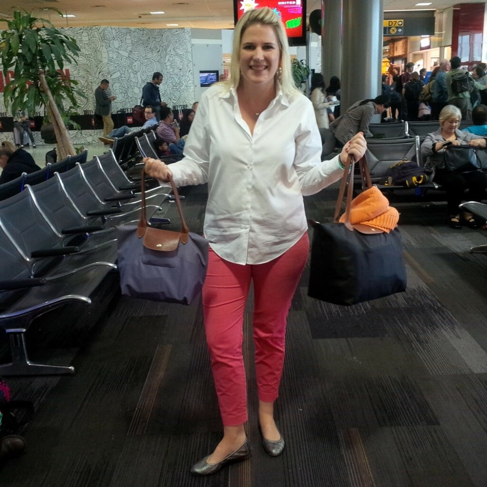 """Katherine is the queen of traveling light. This was all she needed for a one week trip. - """"Travel Fees We Hate and How to Avoid Them"""" - Two Traveling Texans"""