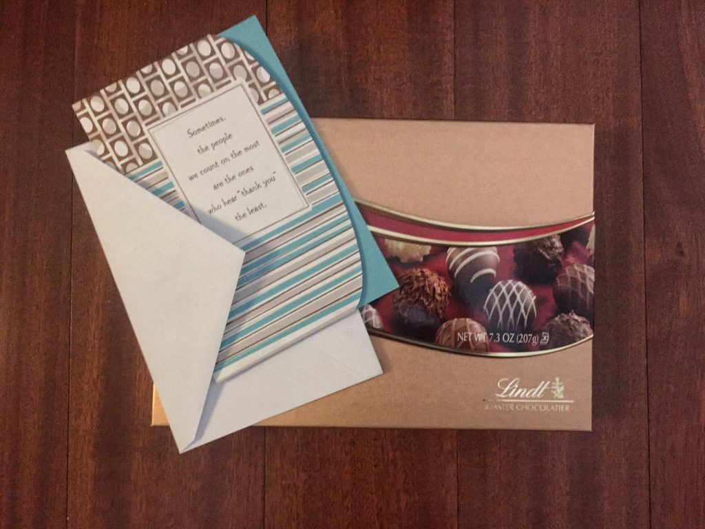 Just a small token of my appreciation - chocolates and a thank you card.