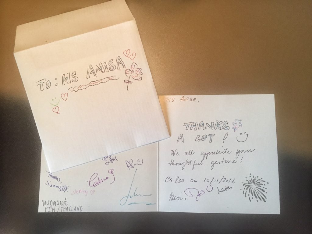 """The whole crew sign a card for me - so thoughtful of them!""""Random Acts of Kindness - Spark Hope Tag"""" - Two Traveling Texans"""