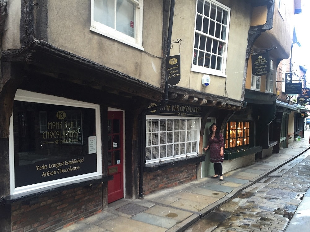 """Anisa on the Shambles. We were there early so it was nice and quiet! - """"York: Five Must See Historic Sites"""" - Two Traveling Texans"""