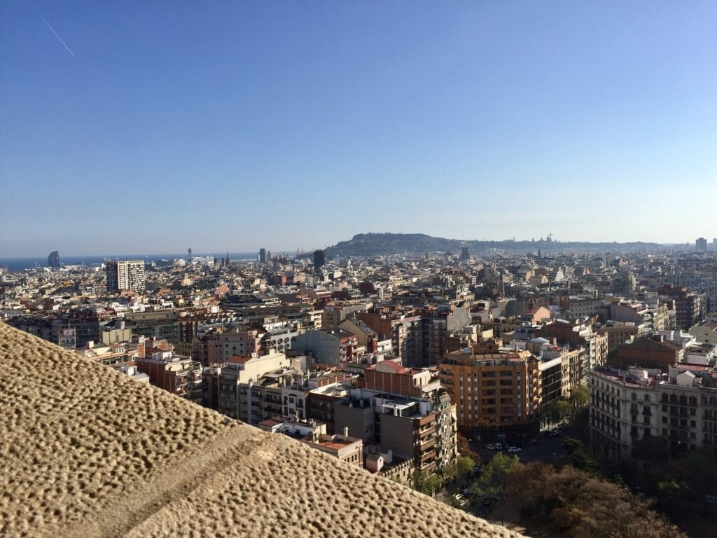 "The view from the Passion towers of La Sagrada Familia (partially obstructed!). - ""Why I Fell in Love With Gaudi in Barcelona"""