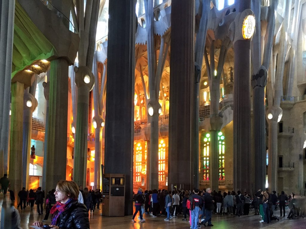 "You can see the amazing light from the stained glass window. - ""Why I Fell in Love With Gaudi in Barcelona"""