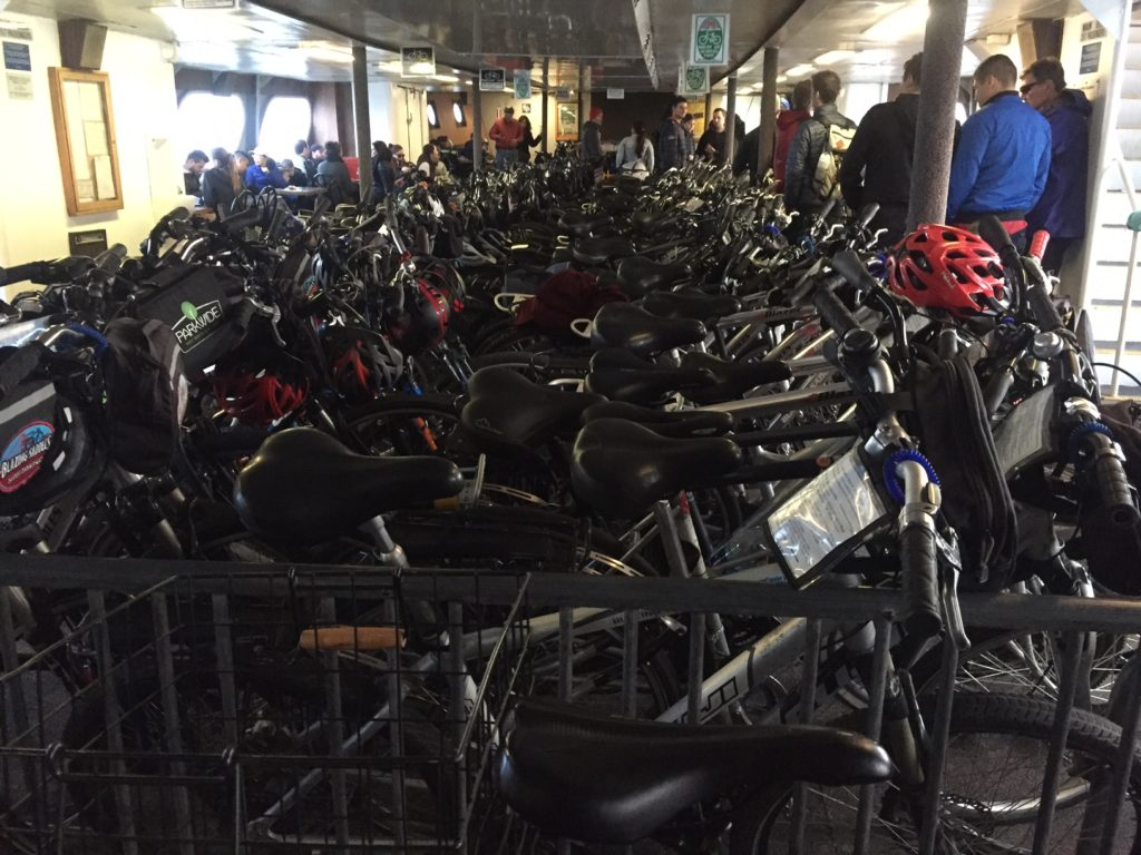 """The bottom floor of the ferry was filled with bikes! - """"Biking Across the Golden Gate Bridge: Another off my Bucket List!"""" - Two Traveling Texans"""