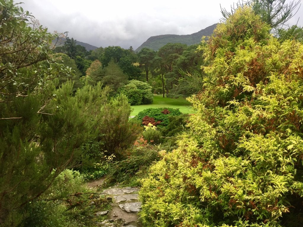 The Muckross House gardens are so green.