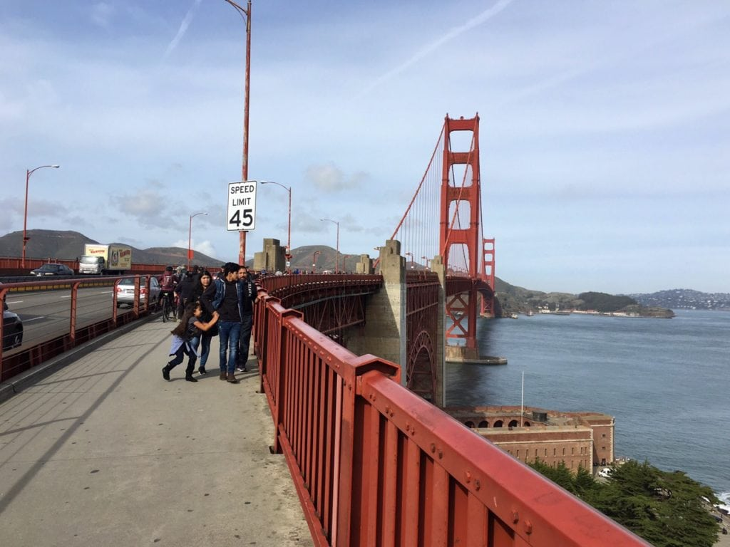 """Here you can see how there is a small section of the bridge walled off for bikes and pedestrians. - """"Biking Across the Golden Gate Bridge: Another off my Bucket List!"""" - Two Traveling Texans"""