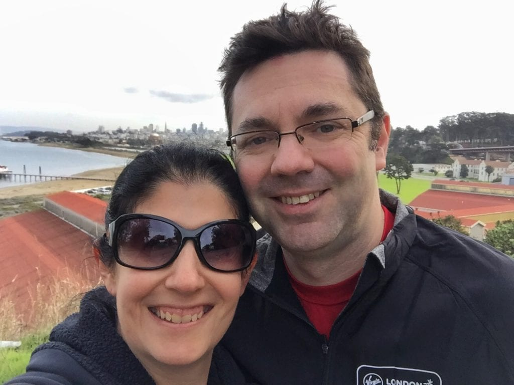 """Obligatory selfie we took in Sausalito. You can see San Francisco in the background.- Biking Across the Golden Gate Bridge: Another off my Bucket List!"""" - Two Traveling Texans"""