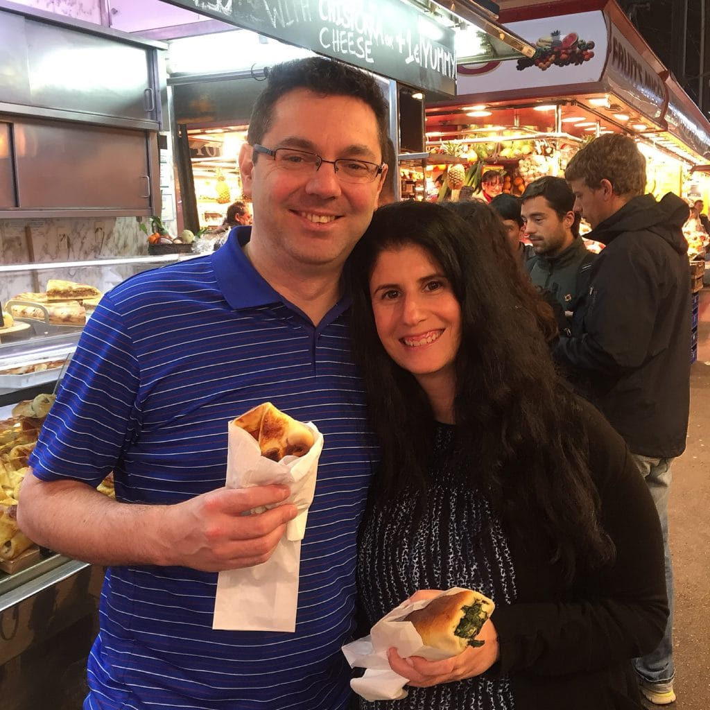 "Russell and Anisa at La Boqueria Market - "" La Boqueria Market: Come Hungry!"" - Two Traveling Texans"