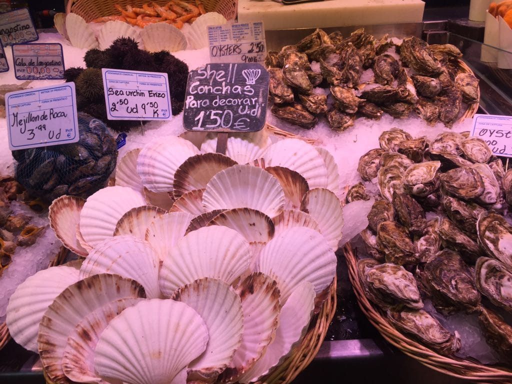 "Some of the fresh seafood. They also had crabs that were still moving! - ""La Boqueria Market: Come Hungry!"" - Two Traveling Texans"
