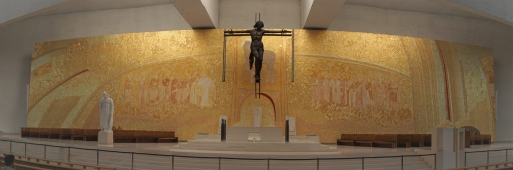 """The mosaic at the altar in the Basilica of the Holy Trinity was really impressive! """"Fatima Pilgrimage: 100 Years and Counting"""" - Two Traveling Texans"""