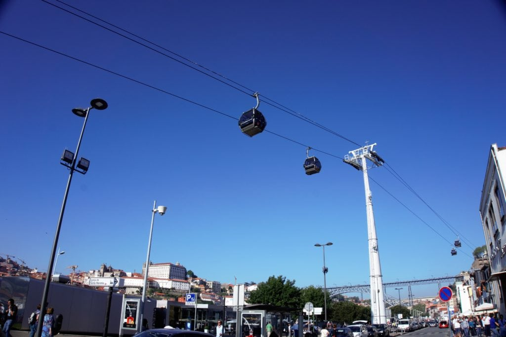 "Looking up at the cable cars from the ground. -""Port House Visits and Cable Cars"" - Two Traveling Texans"
