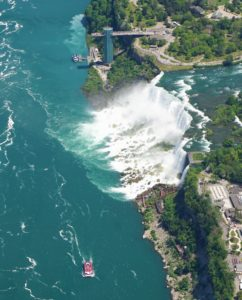 """Here you can see the American Falls and the Bridal Falls plus the Hornblower Boat. - """"Niagara Falls Helicopter Ride to Remember"""" - Two Traveling Texans"""