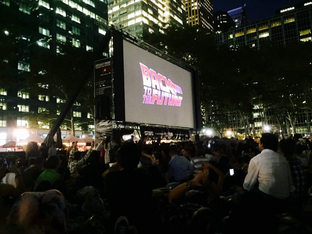 """Such good memories of watching my favorite movie, Back to the Future, in Bryant Park! - """"The Best Free Summer Events in NYC"""" - Two Traveling Texans"""