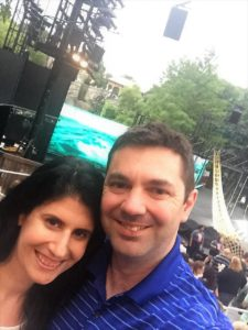 """Anisa and Russell by the Shakespeare in the Park Stage before a performance of The Tempest. - """"The Best Free Summer Events in NYC"""" - Two Traveling Texans"""