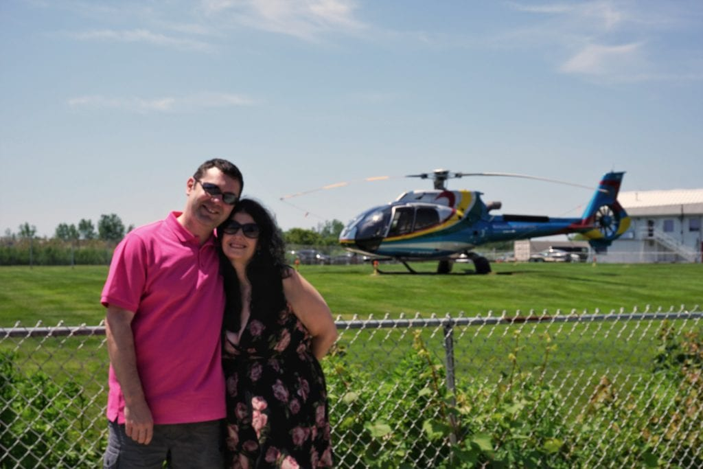 """Obligatory photo with the helicopter. - """"Niagara Falls Helicopter Ride to Remember"""" - Two Traveling Texans"""