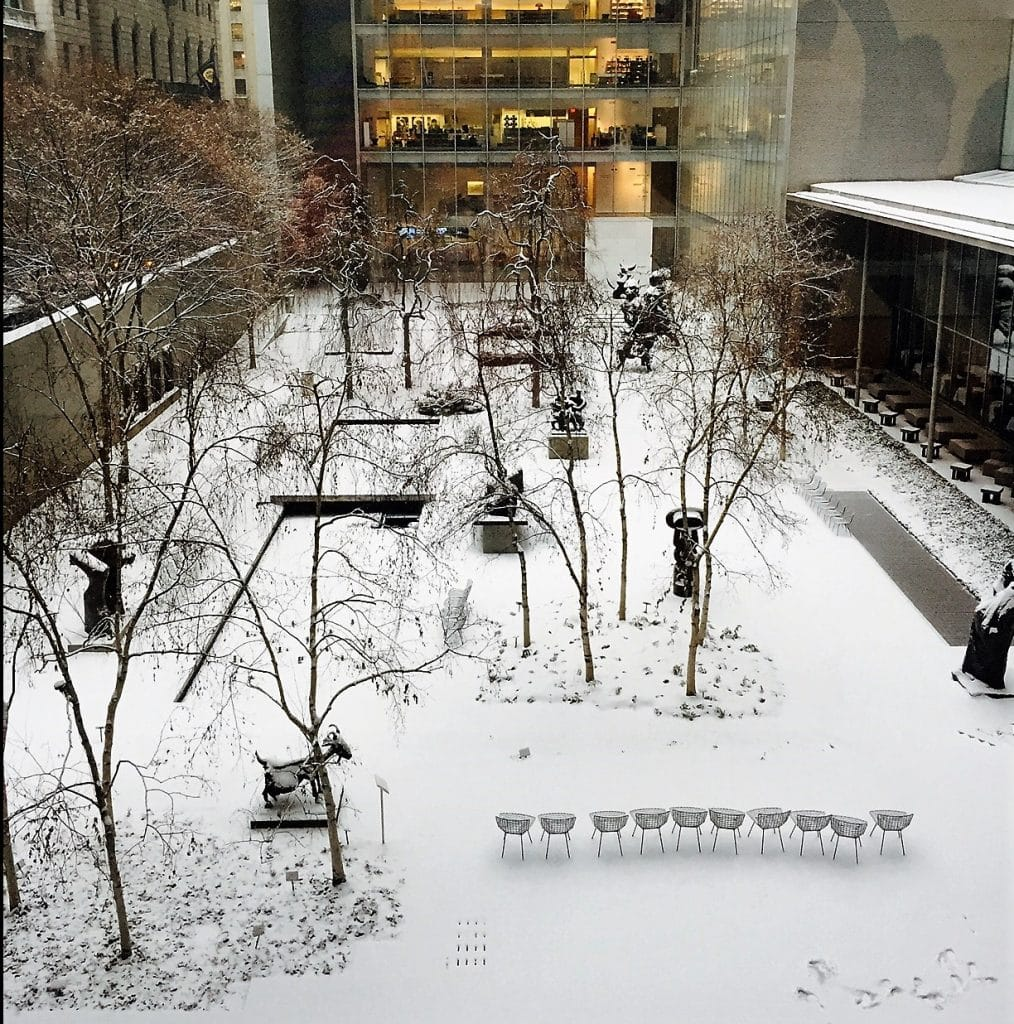"""The MOMA sculpture garden covered in snow! - """"Met vs MOMA: Which Museum is Best?"""" - Two Traveling Texans"""
