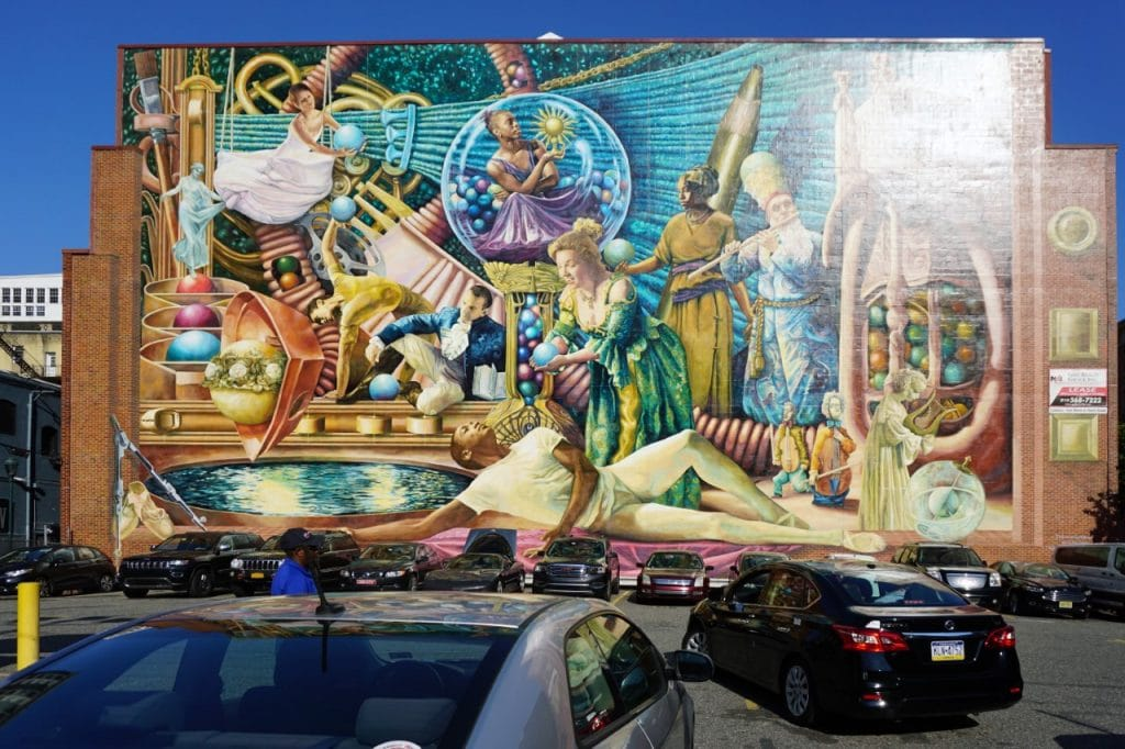 "I love the bold colors on Philadelphia Muses by Meg Saligman - ""Philadelphia Mural Mile Tour: Get Inspired!"" - Two Traveling Texans"