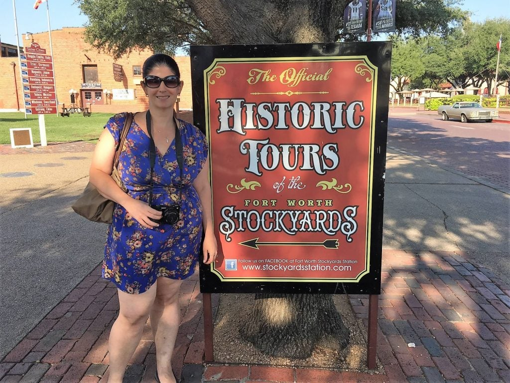 "Anisa is ready for her walking tour of the Stockyards. - ""Fort Worth Stockyards: Learn About the Old West"" - Two Traveling Texans"