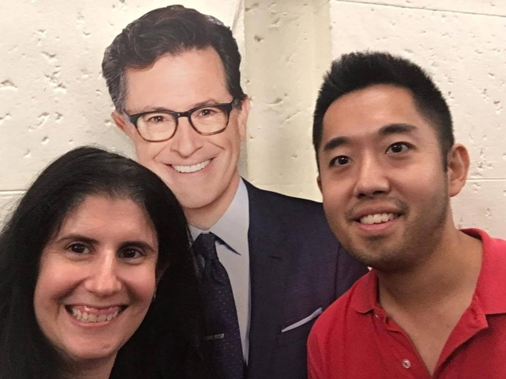 """Selfie with cardboard cutout of Stephen Colbert. - """"How to See TV Tapings in NYC With 1iota Tickets"""" - Two Traveling Texans"""